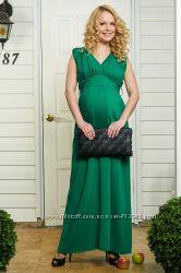 Платье Кавалья зеленое и малиновое для беременных и кормящих Бамбиномания