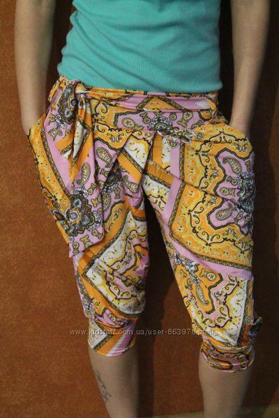 Цветастые брюки, на лето, 42-46 распродажа