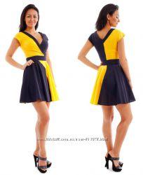 Платье два цвета, черный желтый р. S, M, акция
