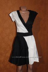 Платье два цвета, черный белый р. S, M, L - 42, 44, 46, скидка