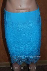 Гипюровая юбка голубого цвета, р. 44-46 распродажа