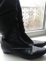 Зимние кожаные сапоги на цигейке