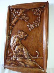Деревянная резная картина Тигр