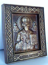 Икона деревянная резная Святой Николай Чудотворец Угодник