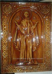 Икона Богоматери деревянная резная Нерушимая стена