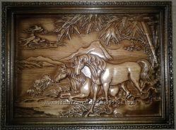 Деревянная резная картина Лошади у реки