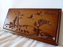 Резная деревянная картина Мельница