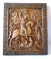 Деревянная резная икона Георгия Победоносца