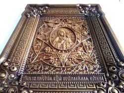 Деревянная резная икона Божьей Матери Неопалимая купина
