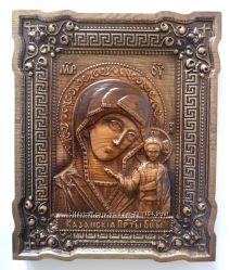 Деревянная резная икона Богоматери Казанская
