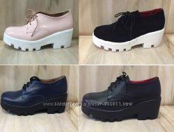 Броги ботинки на шнурках кожа