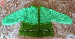 Детский жакет с листиками спицы