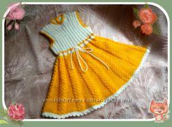 Вязаный теплый сарафан для девочки