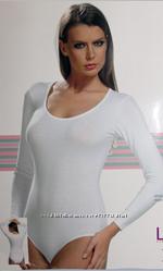 SEVIM - Классическое боди с длинным рукавом. Белый, черный.