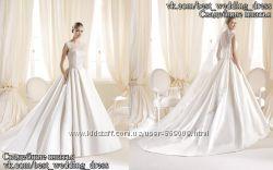 Новое атласное свадебное платье с карманами Iolanda салон Bride недорого