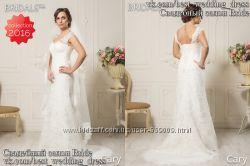 Новое кружевное свадебное платье 2016 Рыбка Cary салон Bride недорого