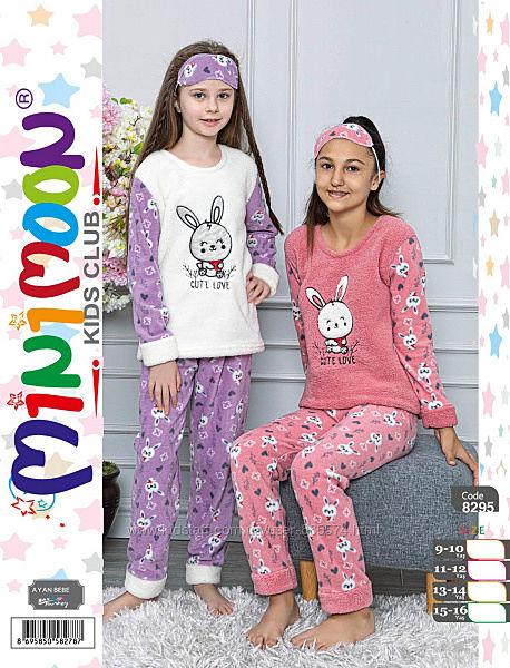 Махровая пижама подростковая для девочек 5055