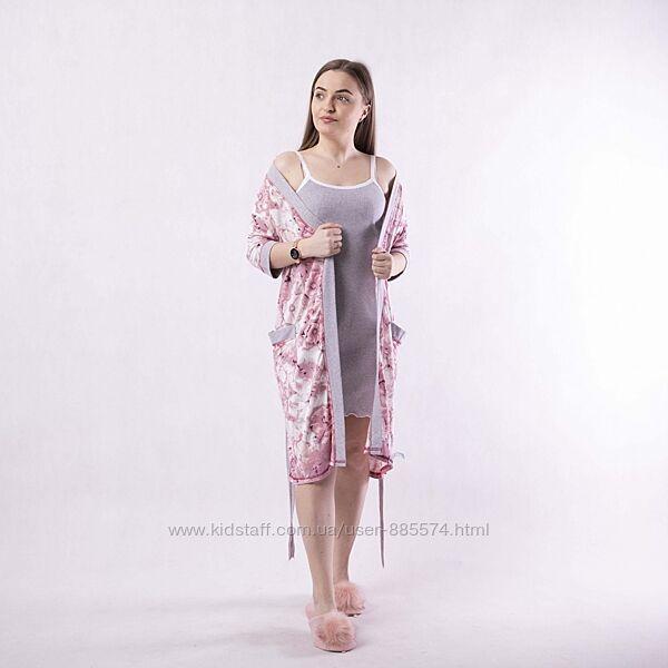 Комплект, халат и сорочка из вискозы 1018