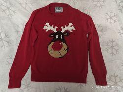 Мужской новогодний свитер peacocks размер м-38 англия