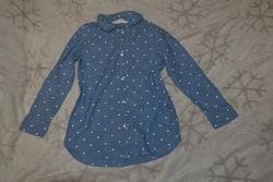 Рубашка девочке H&M 4-5 лет рост 104-110