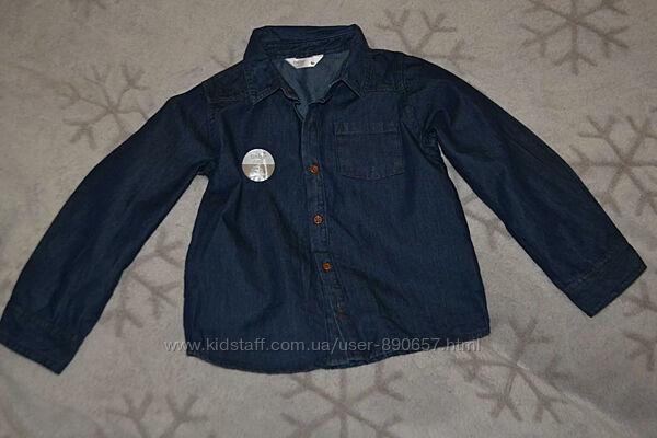 новая джинсовая рубашка M&Co 2-3 года рост 92-98 Англия