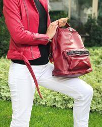 Кожаный красный женский городской рюкзак с натуральной кожи недорого