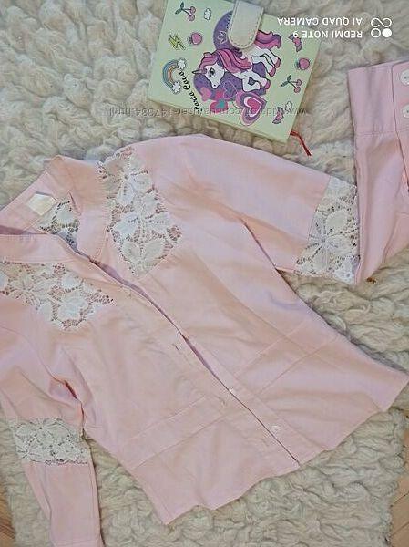 Школьные  блузки, рубашки для девочки 134-140р. Можно для двойни, близнецов