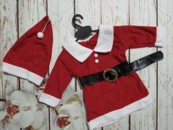 Новогодний костюм Санты с шапочкой для девочки до 1 года