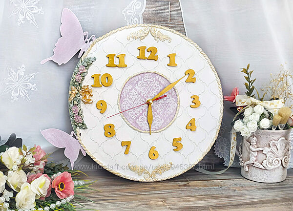 Часы настенные Белое Золото