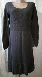 Платье р.48 FatFase серое трикотаж с узором длинный рукав коттон