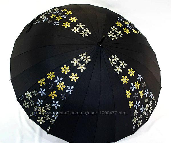 Большой женский зонт трость Антишторм Fiaba 24 спицы диаметр 120 см