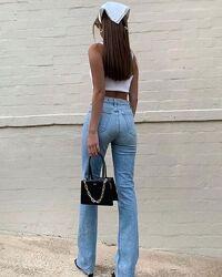 Джинсы клеш голубые, клеш от колена, джинсы палацц 36,38р от karol как zarа