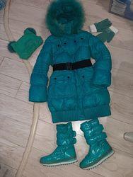 Очень тёплый пуховик пальто Kiko р.146. Сапоги, шапка и перчатки