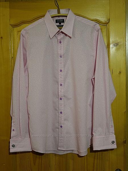 Красивая формальная розовая рубашка из набивного хлопка Stvdio jeff banks А