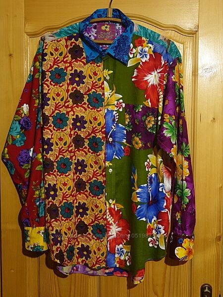 Красочная неформальная тоненькая х/б рубашка ручной работы Bent Banani  XXL