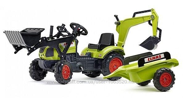 Детский трактор на педалях с прицепом, передним и задним ковшом FALK 2040N