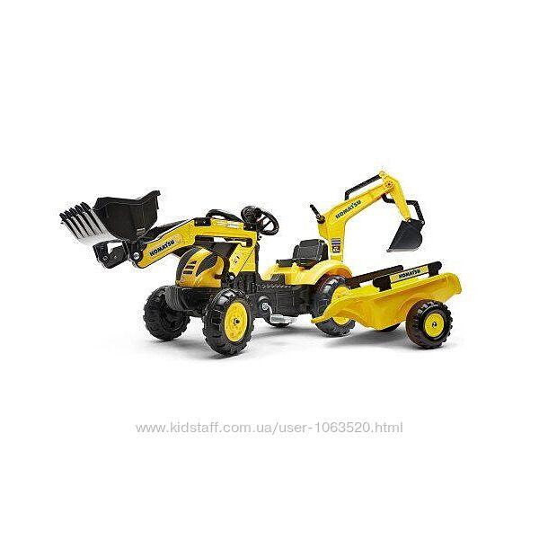 трактор на педалях с прицепом, передним и задним ковшом FALK 2076N