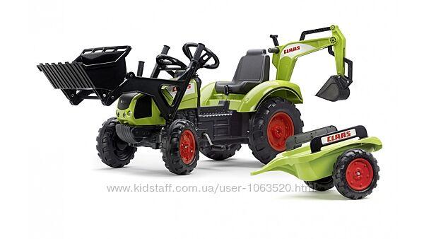 Детский трактор на педалях с прицепом, передним и задним ковшом Falk 2070Y