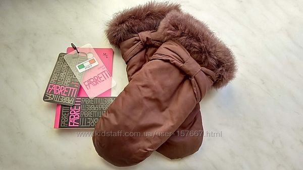 Шикарные варежки с меховой опушкой fabretti Италия, теплые рукавицы  р. m-l