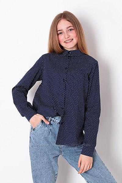 Рубашка для девочки Mevis синяя 3337-03