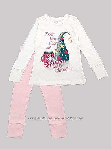 Праздничная пижама для девочки Фламинго молочная 330-1006