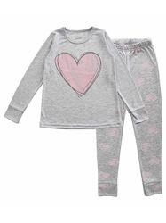 Пижама для девочки Фламинго Сердечко серая 247-232