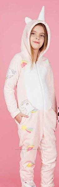 Уютная пижама-кигуруми для девочки Фламинго Единороги розовая 822-912