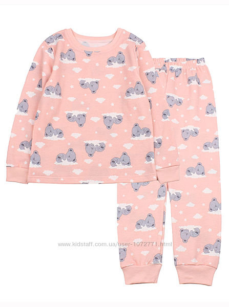 Теплая пижама для девочки Фламинго Мишки персиковая 329-307