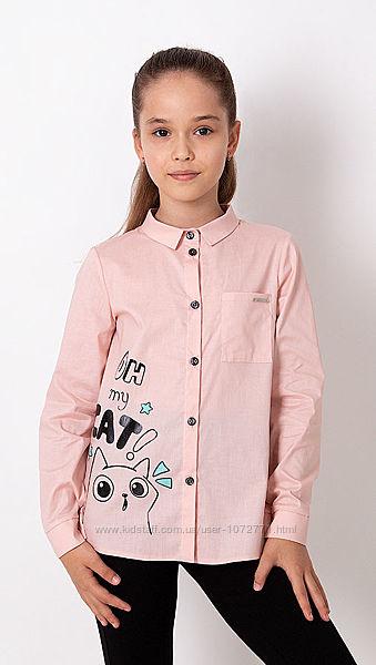 Рубашка для девочки Mevis персиковая и розовая 3372