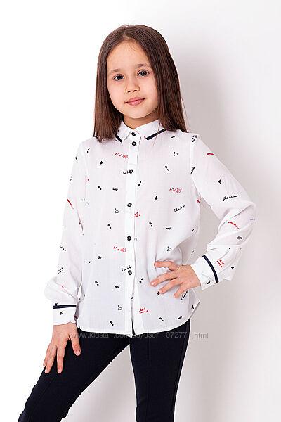 Рубашка для девочки Mevis белая 3756-01