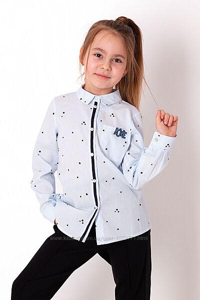 Рубашка для девочки Mevis розовая и голубая 3720
