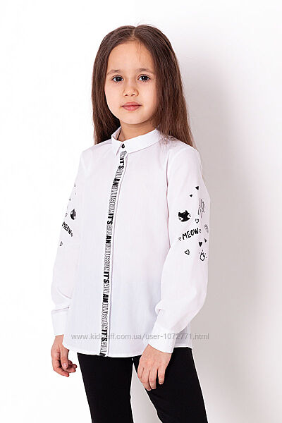 Рубашка для девочки Mevis белая 3710-01