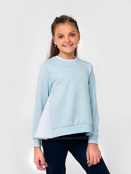 Свитшот с длинным рукавом для девочки SMIL голубой и карамельный 116492