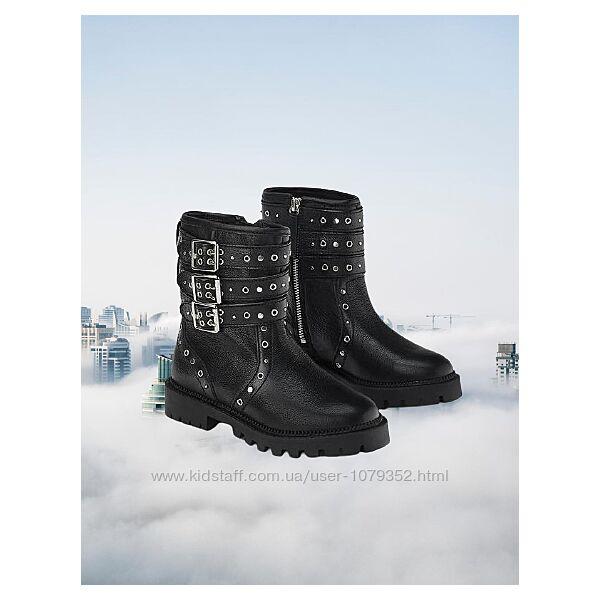 ZARA Кожаные высокие ботинки в байкерском стиле с заклепками р.28